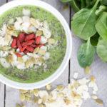 green smoothie in white bowl