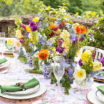 easter table with wild flowers